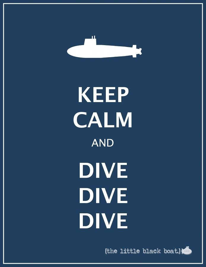 """KEEP CALM AND DIVE DIVE DIVE"" with sub print $15"