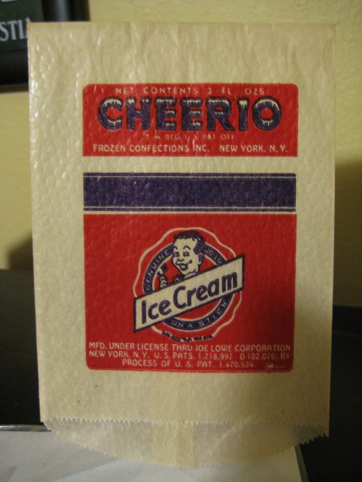 Vintage Cheerio Ice Cream Bar Wrapper: Ice Cream Bar