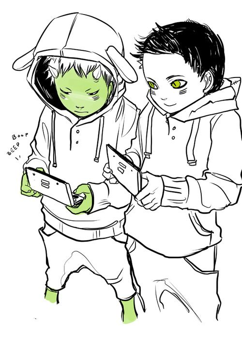 The idea alone is already made of WIN!  Drawn by Cassandra Jean ...  magnus bane, ragnor fell, the bane chronicles, 3DS, gaming