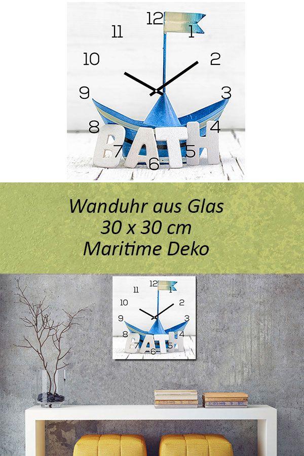 Levandeo Wanduhr Glas 30x30cm Glasuhr Uhr Glasbild Bath Bad Maritim Blau Boot Wanduhr Maritim Wanduhr Glas
