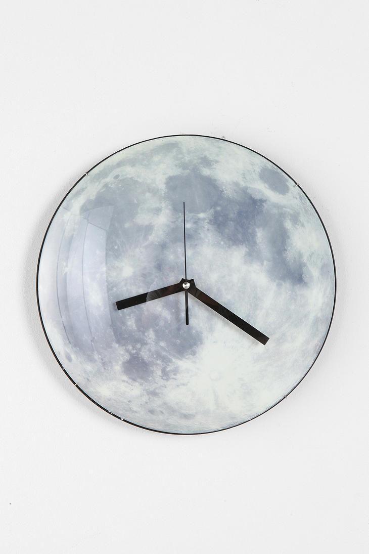 Glow-In-The-Dark Moon Wall Clock #urbanoutfitters
