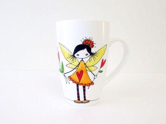 Aime fée avec tasse de coeurs rouges, main peint porcelaine thé tasse à café, personnalisée, drôle tasses, chopes mignon, Custom Design, cadeau de Saint Valentin