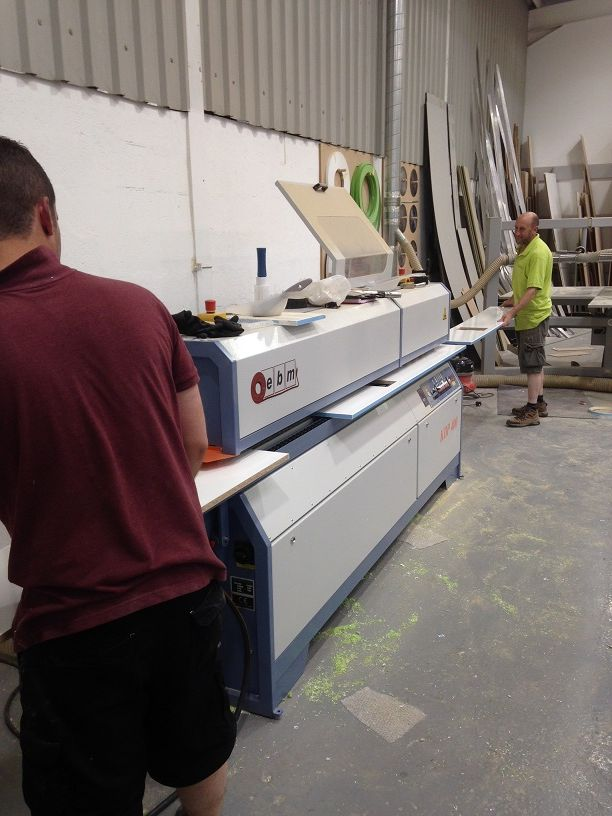 Ryan and Geoff just finishing the last of the panels for the two hundred and seventy three Vokera FSDUs using our newly acquired EBM edgebander.