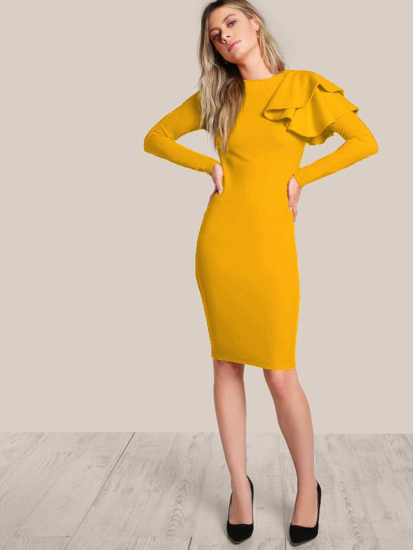 Shop One Side Tiered Ruffle Trim Dress online. SheIn offers One Side Tiered Ruffle Trim Dress & more to fit your fashionable needs.
