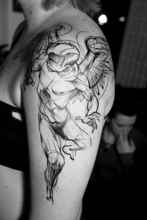 Geometric Angel Arm Tattoo