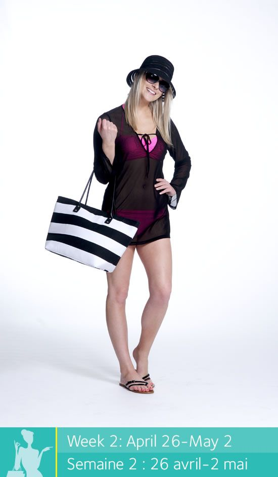 Enter to win a $500 shopping spree at Place d'Orléans at www.facebook.com/placedorleans. #pdopinupgirls @placedorleans @_La_Vie_en_Rose. Get this look at La vie en Rose! Bikini top and bottom, cover up, beach bag, hat, sunglasses and sandals.
