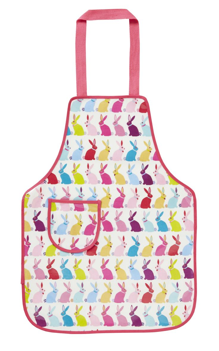 Bunnies Childrens Apron bu Ulster Weavers. PVC coating for easy cleaning. Cute multi-coloured bunnies to keep the kids clean when cooking in the kitchen.
