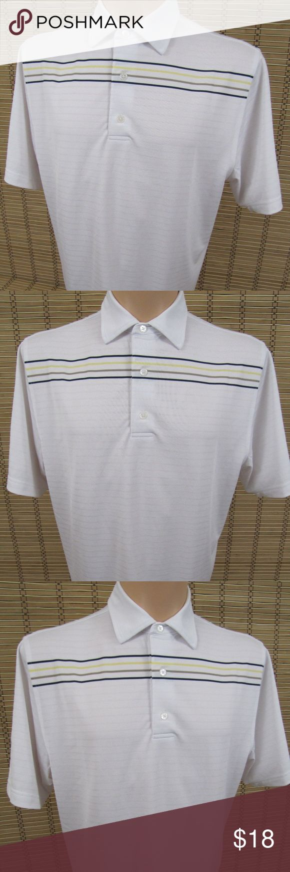 """FootJoy Mens White Striped Embroidered Polo Shirt Inventory # B182  Brand: FOOTJOY  Condition: This item is in Very Nice Condition!  Item Specifics: Embroidered """"R"""" On Sleeve (see pic), Short Sleeve, Striped Polo  Material: 96% Polyester, 4% Spandex  Color: White  Size: Mens M  Pit to Pit (Across Chest):   22""""  Length (Top of Collar to Hem):   32"""" FootJoy Shirts Polos"""