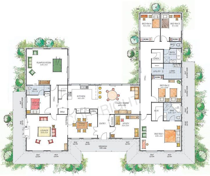U Shaped House Plans With Courtyard With Family Room And Longe Room With Some Small Bedroom  On Astounding Interior Design
