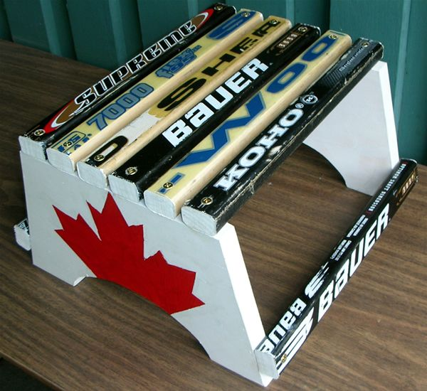 hockey stick stepstool for when your little buddy needs to reach that sink:)