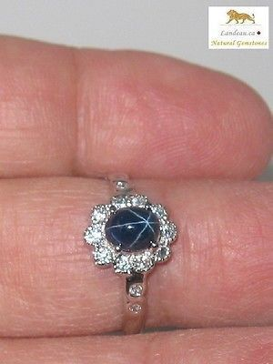 1.7 ct NATURAL BLUE STAR SAPPHIRE RING - A
