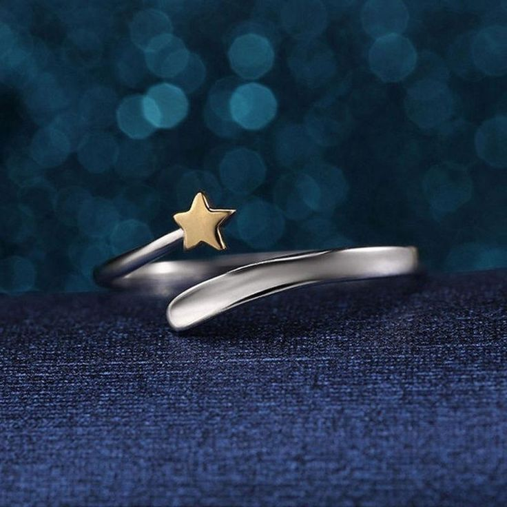 Silver ring shooting star band eternity love ring Adjustable stars Gold