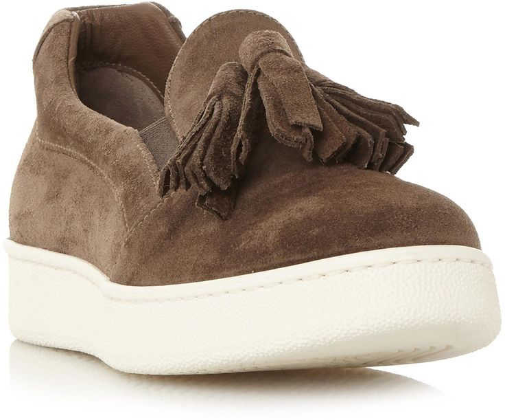 Womens khaki brown elda suede tassel detail slip on trainer from Dune - £100 at ClothingByColour.com