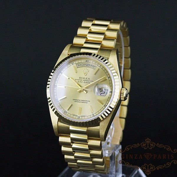 【中古】ROLEX(ロレックス)  18238 デイデイト 金無垢 K18YG メンズ 自動巻き E番台/ロレックスの最高峰デイデイトのK18YGです。腕にはめているだけでも存在感がちがいます。/新品同様・極美品・美品の中古ブランド時計を格安で提供いたします。