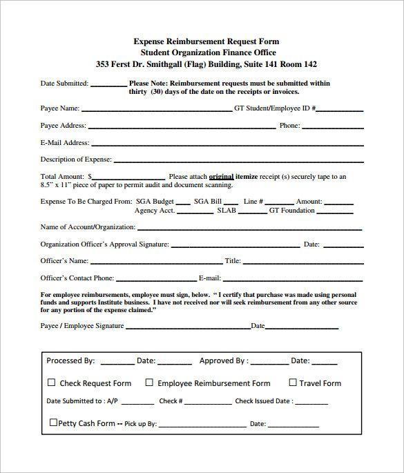 17 Expense Reimbursement Form Templates Words Templates Book