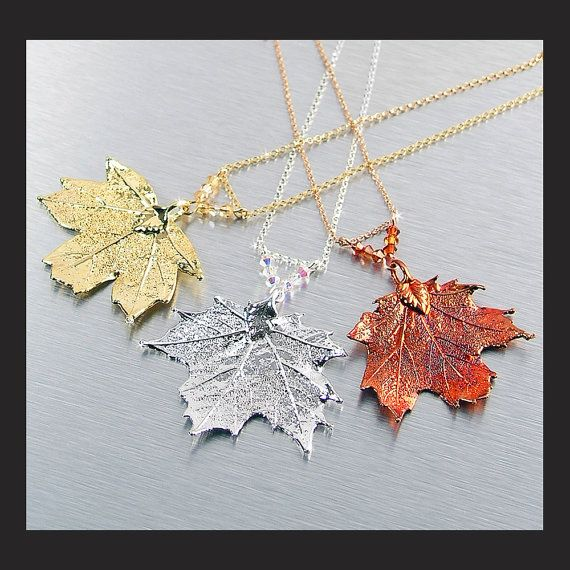 Gold Maple Leaf Necklace Silver Maple Leaf Real by DorotaJewelry