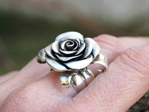 Flower ring rose ring rosebud sterling silver rose by jewelsculpts