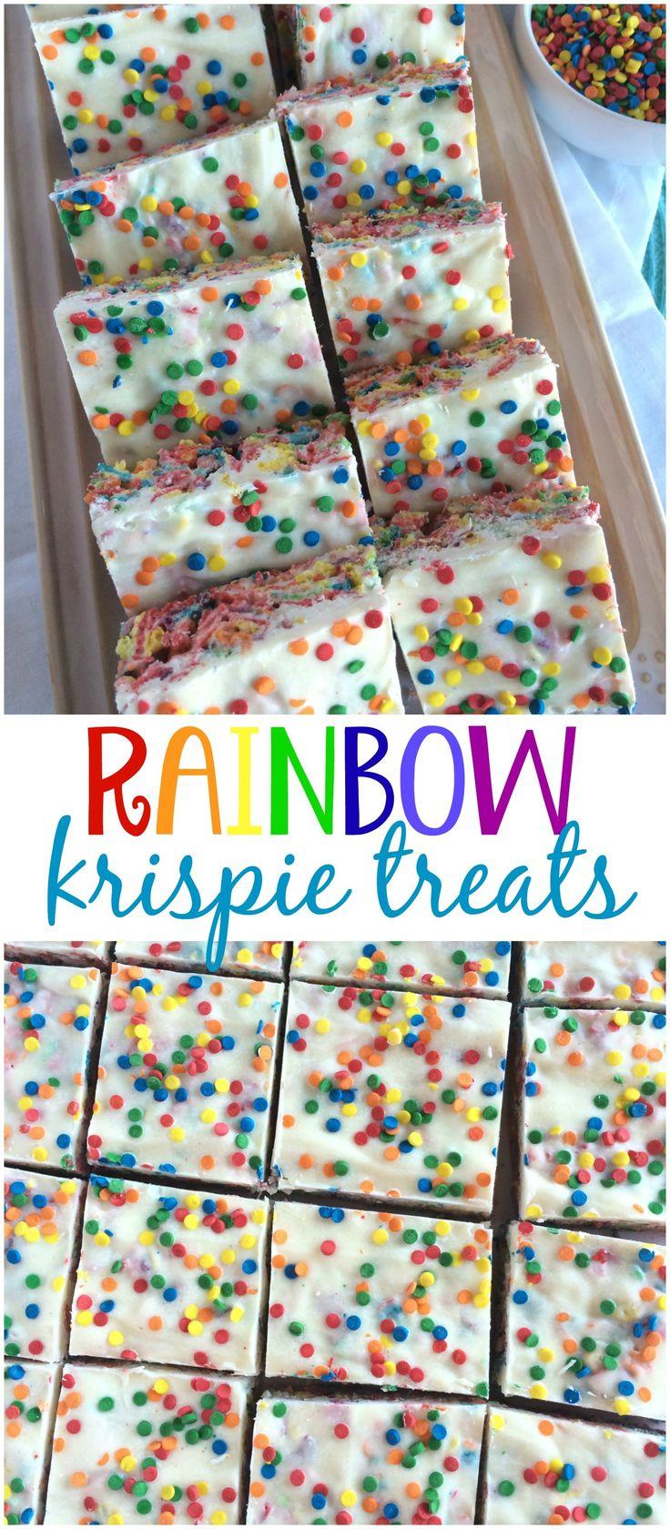 RAINBOW KRISPIE TREATS | easy, 5 minute, no-bake treat! www.togetherasfamily.com