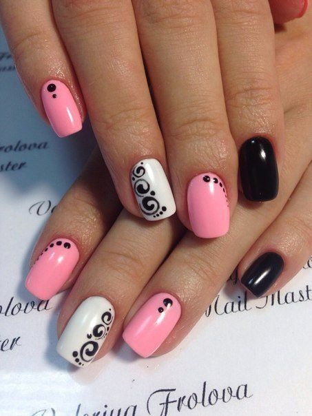 Beautiful nails 2016, Interesting nails, Nails with stickers, Original nails, Pattern nails, Pink manicure ideas, Shellac nails 2016, Spring nail designs:
