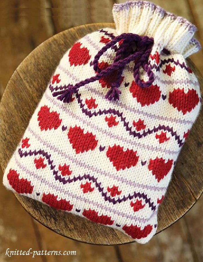 Hearts hot water bottle cover -free pattern