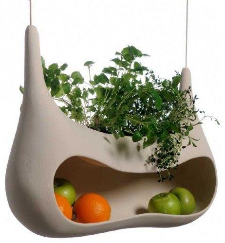 "hanging ""Cocoon"" fruit, veggie and herb storage"