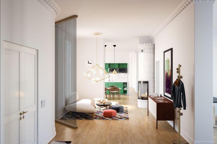 Dalagatan, Office, hallway, lounge and kitchen Classic Stockholm style, PS,  Interior design, Scandinavian design, 3D visualisation, render, archviz, 3Ds Max, modern design, styling
