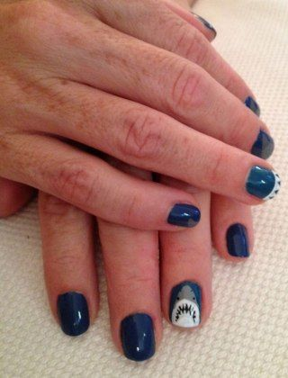 Next Years Shark Week Laura S Mani Is Very Creative Too Jaws On One Nail A Few Fins And Some Sharp Teeth Adds Nice Finishing Touch