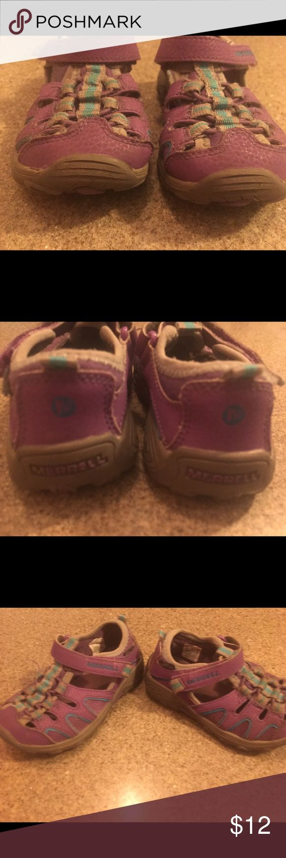 Merrill, kids size 10w, gently used barely wore Purple, girls Merrill, Velcro close, Sandler. Size 10w kids. Merrell Shoes Sandals & Flip Flops