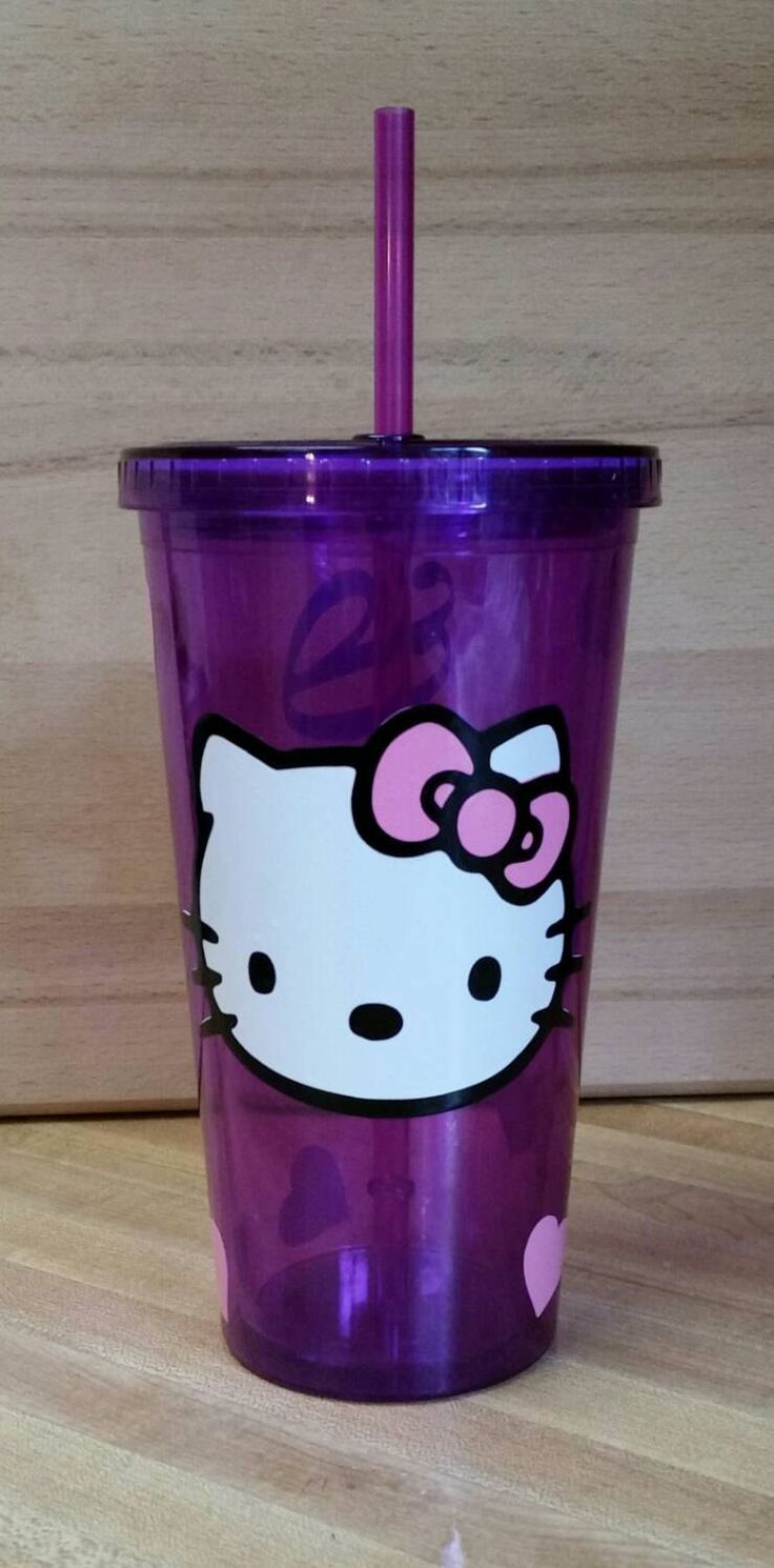 Hello kitty tumbler,  hello kitty cup,  purple tumbler,  hello kitty decor,  hello kitty,  cup with lid and straw,  personalized gifts by PaulsonsKrazyKrafts on Etsy https://www.etsy.com/listing/256429471/hello-kitty-tumbler-hello-kitty-cup
