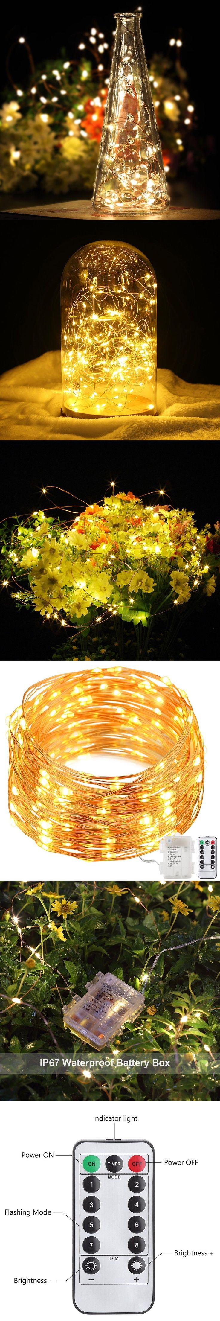 33ft 100LED Warm White Copper Wire Fairy Starry String Light 8 Modes Battery String Lights with remote controller