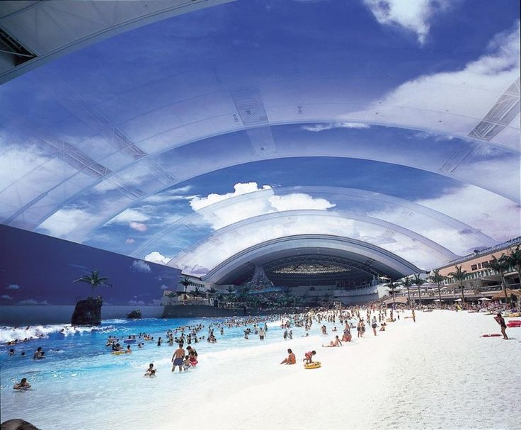 """The largest indoor pool in the world """"Ocean Dome"""", located in Miyazaki"""