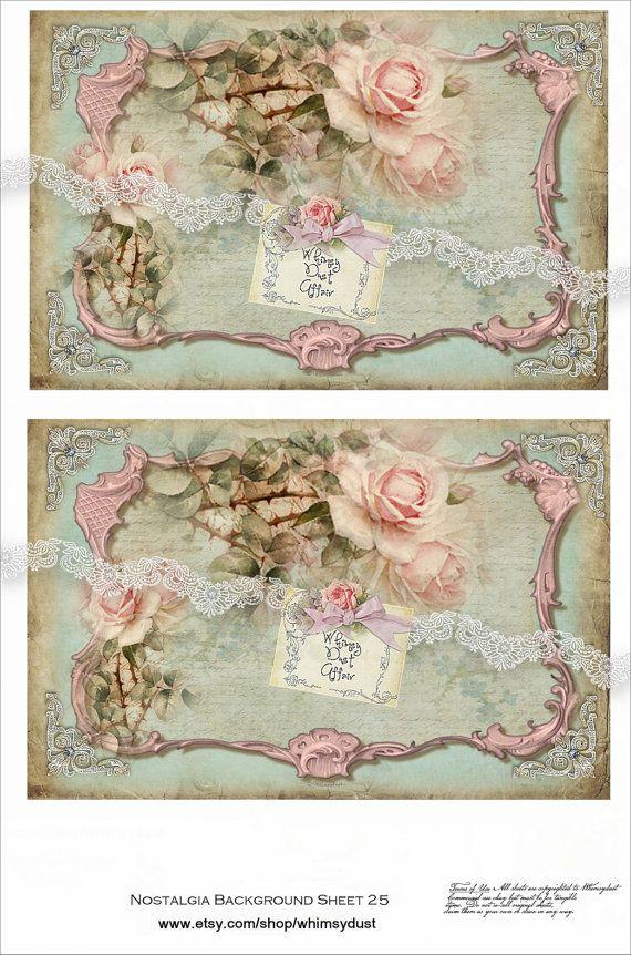 Digital collage sheets, vintage, Nostalgia background 25, instant download, backgrounds, tags,