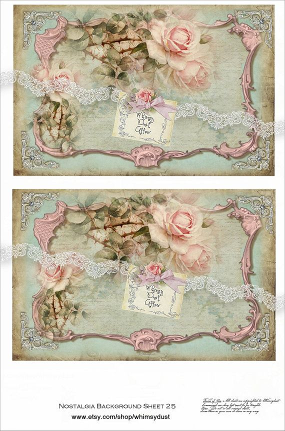 Digital collage sheets vintage Nostalgia background by whimsydust, $4.36