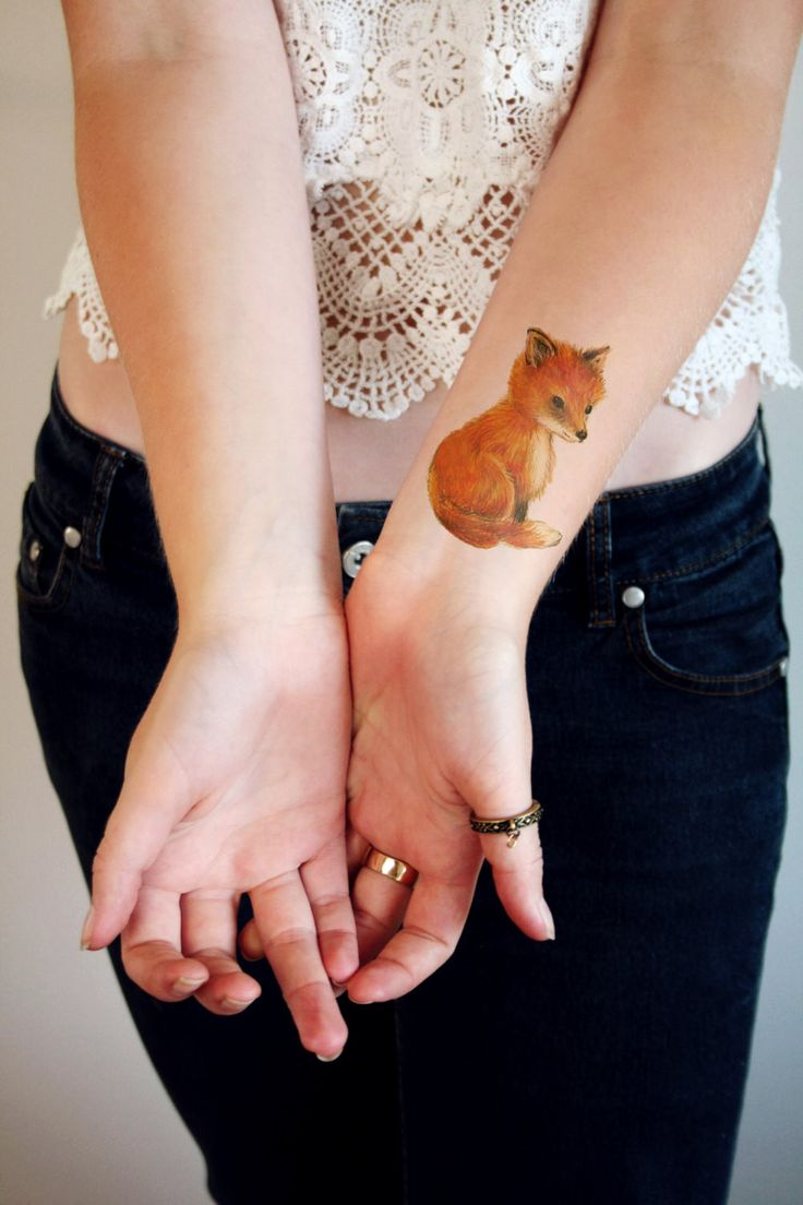Cute little fox temporary tattoo