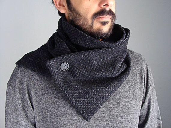 Wool Button Scarf chunky neckwarmer in black & by clothbotshop