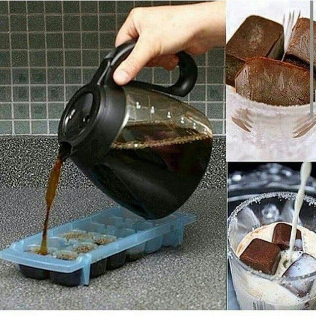Sıcak yaz günlerinde soğuk sütlü kahveye ne dersiniz?? Ister Türk kahvesi ister Nescafe tercih sizlerin hanımlar buz kalıbına dökün. Bir bardak sütünüzün içerisine tercihe bağlı buz haline gelmiş kahvenizden 2 3 adet koyun.. keyifle kahvenizi yudumlayın.. Afiyet olsun