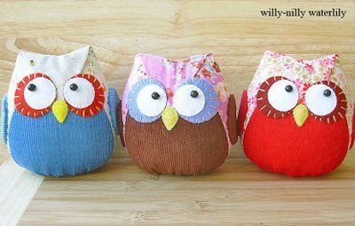 owlsOwl Pillows, Little Owls, Owls Trio, Owls Pillows, Handmade Labels, Crafty Crafts, Darling Owls, Stuffed Owls, Knits Projects