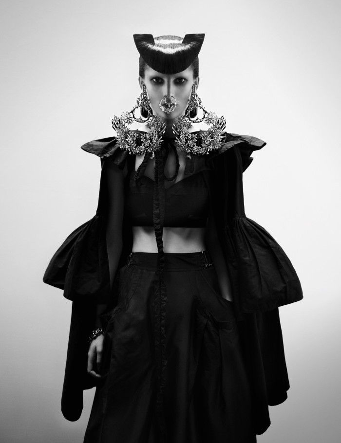 Paul Hanlon for Interview Magazine | Lost Hairdressers.com: V Magazines, Bracelets, Nose Rings, Givenchy, Black White, Chrome Heart, Dark Fashion, Haute Couture, Fabien Baron