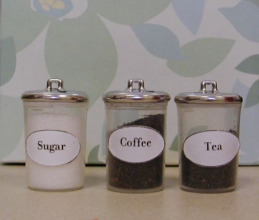 Set of miniature kitchen canisters - plastic spray bottle caps and silver buttons