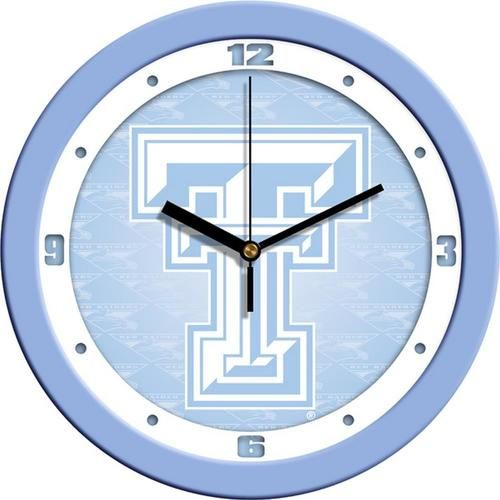 Texas Tech University Clock Baby Blue Glass Wall Clock