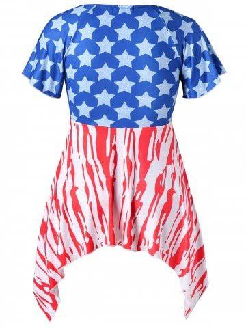 3792c9d87e6b7 Plus Size Empire Waist Crescent Hem Patriotic T-shirt