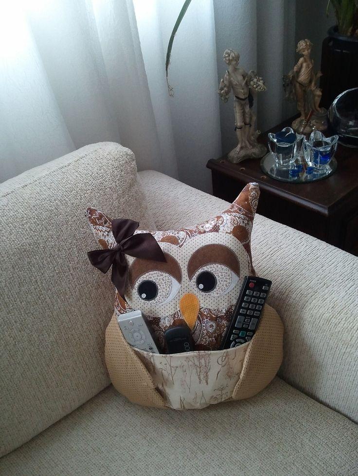 Almofada de coruja Porta Controle Remoto Artes Ana Elgui