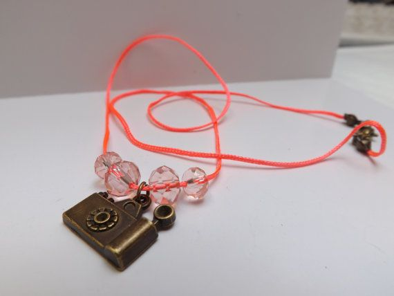 Neon pink chord camera beaded necklace by LizzyNicholls on Etsy, £4.50
