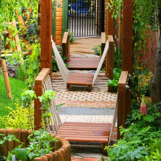hanging bridges and textured walkways - i love the idea of having varying textures along a path and the hanging bridges are amazing!