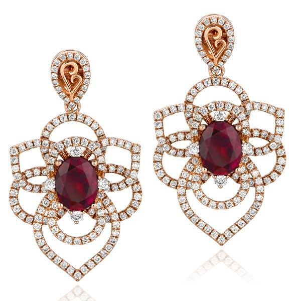 Dazzling Raspberry Rubelite Orchid Earrings framed by an intricate petal design of 2.59 carats of Vanilla Diamonds set in 18K Strawberry Gold. MELI 589