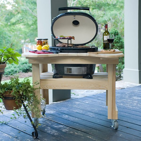 The Primo Oval Junior Kamado Grill With Cypress Table Is A Top Of The Line  Outdoor