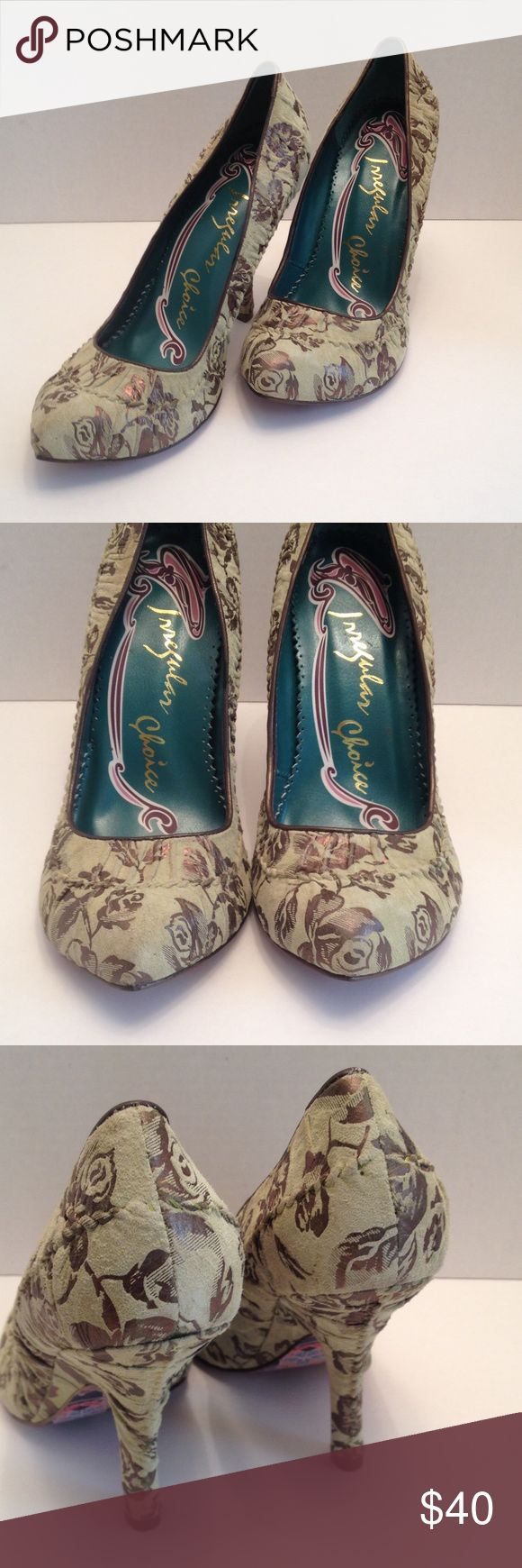 "Irregular choice green suede heels Pretty green & bronze suede pumps with floral print in good condition. New without box with 4"" heels. Size 41/10m irregular choice Shoes Heels"