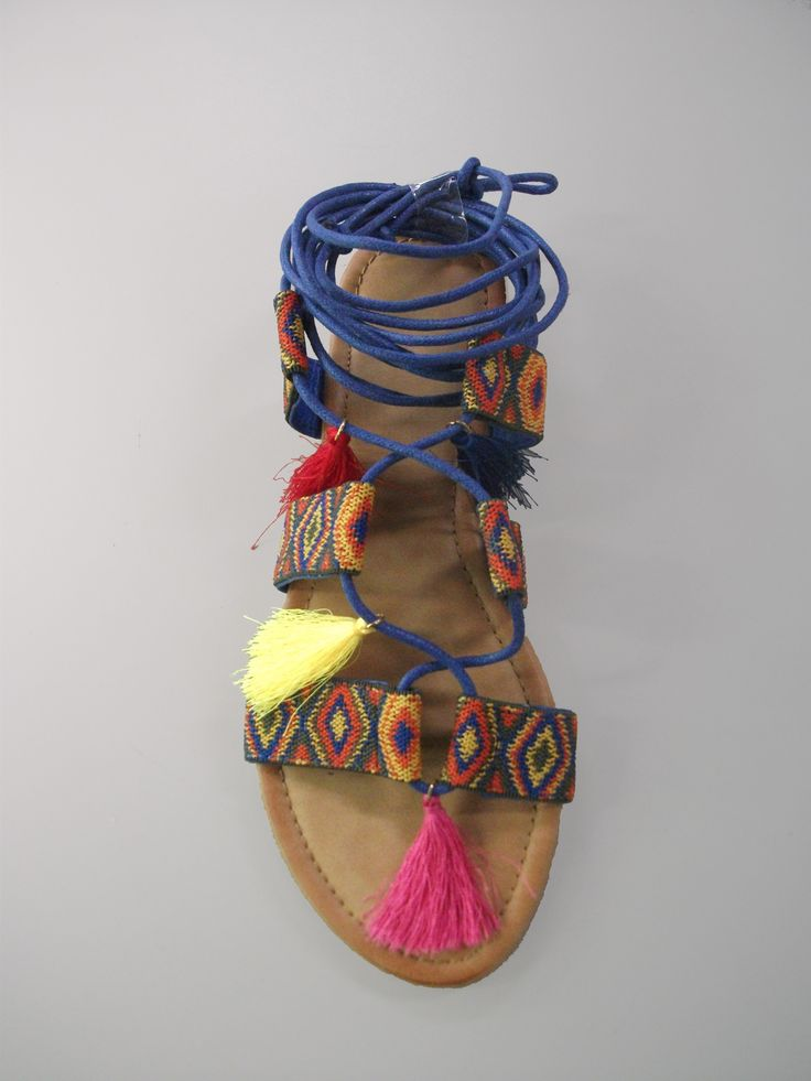 FW65280 Tribal inspired lace up sandals with tassels