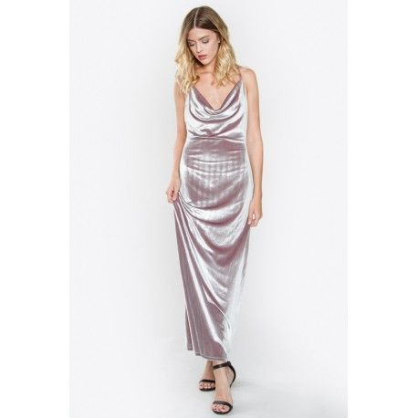 "$69.99   Show off your curves in our Luna Velvet Maxi Dress. Made for this season's elegant dinners, holiday parties and winter weddings! Pair this lux dress with pumps and a sparkly purse to match the vibe.  - Strappy velvet slip maxi dress - Cowl neck - Criss cross back - Color: Silver  Size + Fit - Model is wearing size S - Measurements taken from size S - Length: 48.75"" (Side seam) - Waist: 26"""