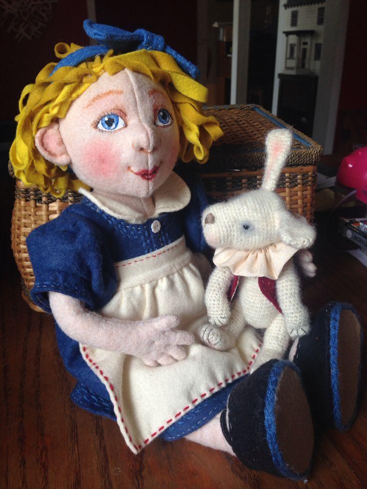 Alice a wool felt doll. Snicklefarkles on Facebook